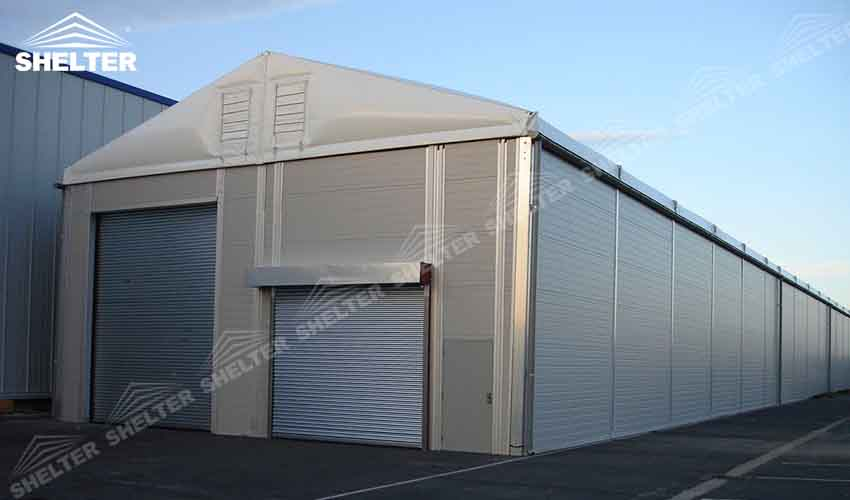 Temporary Construction Shelters : Warehouse structure with thermo roof for short term