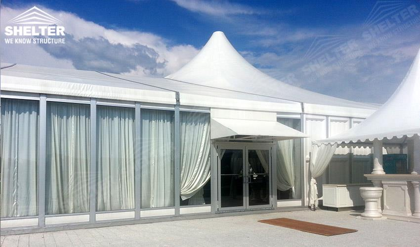 clear span tent - mixed party tents - large wedding marquees - gazebo tent - classic a roof marquee - Shleter aluminum party structures for sale (12)